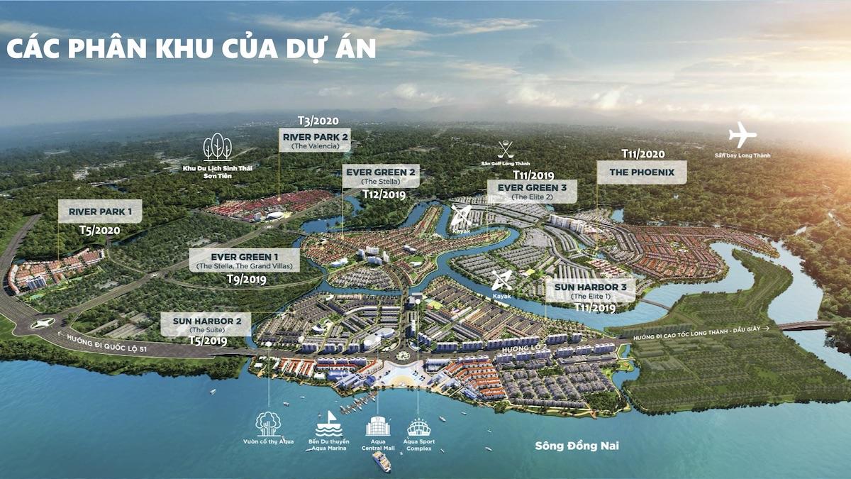 Các phân khu dự án Aqua City Đồng Nai