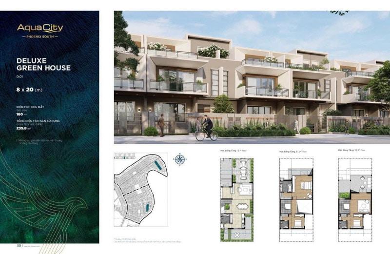 nhà phố 8x20 phân khu Đảo Phượng Hoàng
