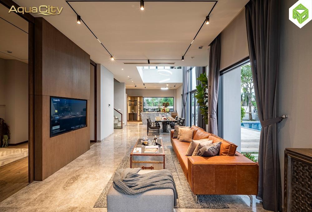 Phòng khách - biệt thự mẫu Aqua City 17x20 - Đảo Phượng Hoàng