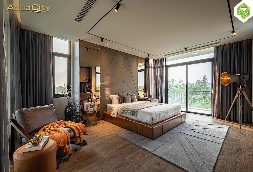 Phòng ngủ master - biệt thự mẫu Aqua City 17x20 - Đảo Phượng Hoàng