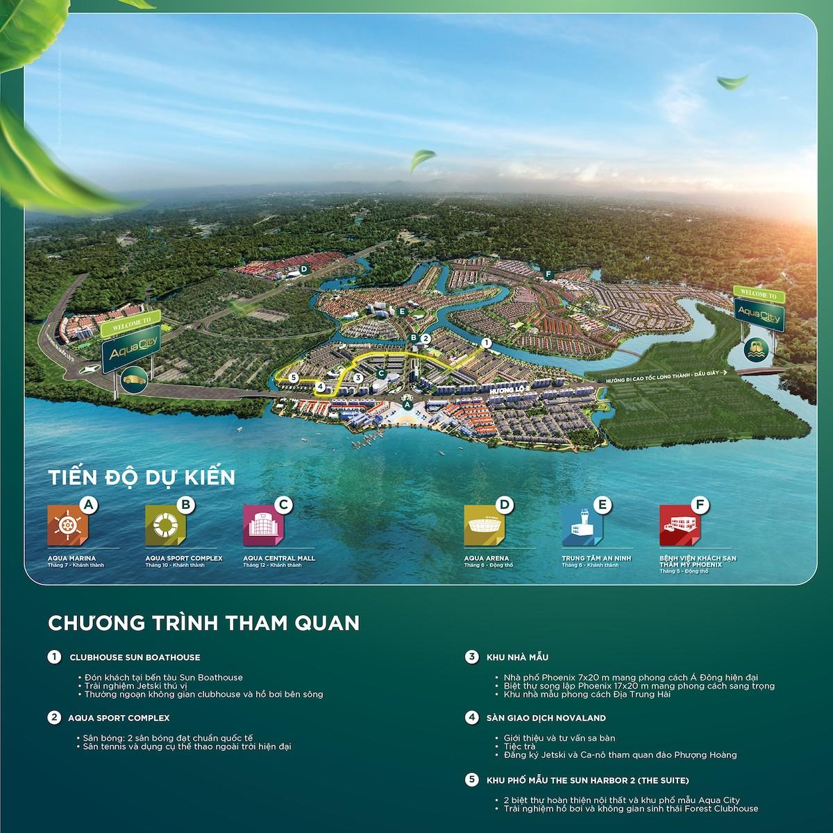 Tham quan nhà mẫu Aqua City - Lịch trình